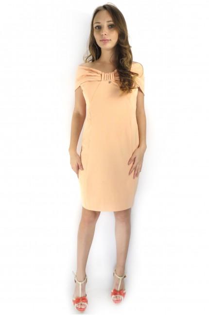 Нежно-розовое коктейльное платье RINASCIMENTO с бантиком