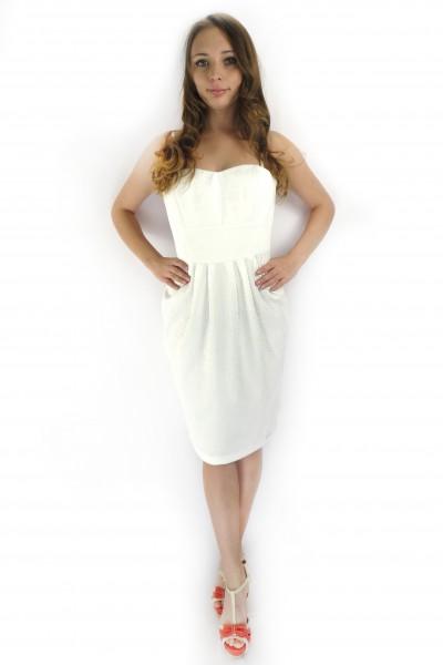 Белое коктейльное платье RINASCIMENTO на бретельках