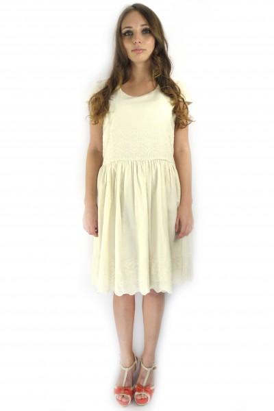Летнее хлопковое платье ICHI кремового цвета