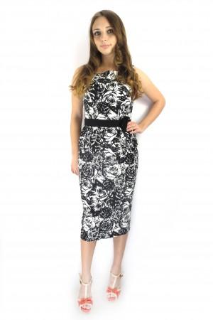 Черное платье FEVER с белым узором роз