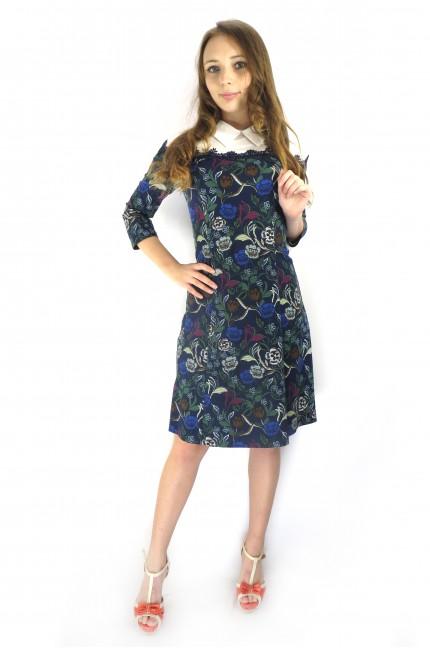 Темно-синее цветочное платье Mokko с белым верхом