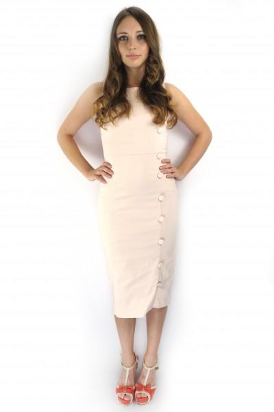 Нежно-розовое платье FEVER с вырезом под горло