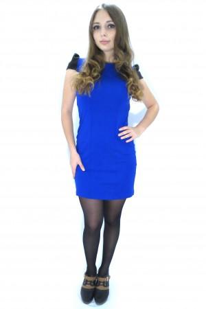 Синее повседневное платье FAQ FASHION с черными плечами