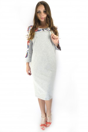 Светло-серое миди платье FAQ FASHION с цветами