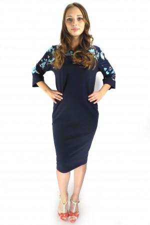 Темно-синее платье FAQ FASHION с цветами