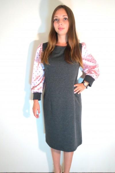 Серое платье FAQ FASHION с розовыми длинными рукавами в горошек