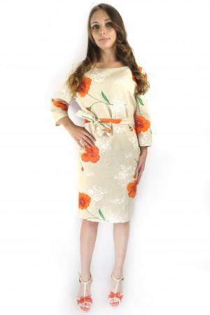 Светлое платье FAQ FASHION с яркими оранжевыми цветами