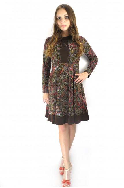 Коричневое платье FAQ FASHION с красивым узором