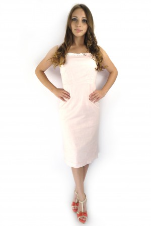 Бледно-розовое платье FEVER с белой отделкой