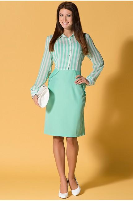 Светло-зеленое платье FRENCH HINT в белую горизонтальную полоску