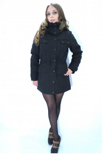 Черная утепленная куртка-парка ICHI