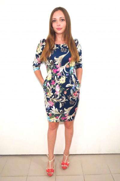 Темно-синее платье FAQ FASHION с цветочным принтом на лето