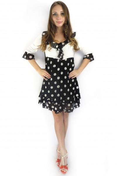 Черное-белое платье RINASCIMENTO в горошек