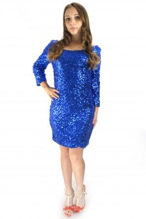 Яркое блестящее платье VILA синего цвета