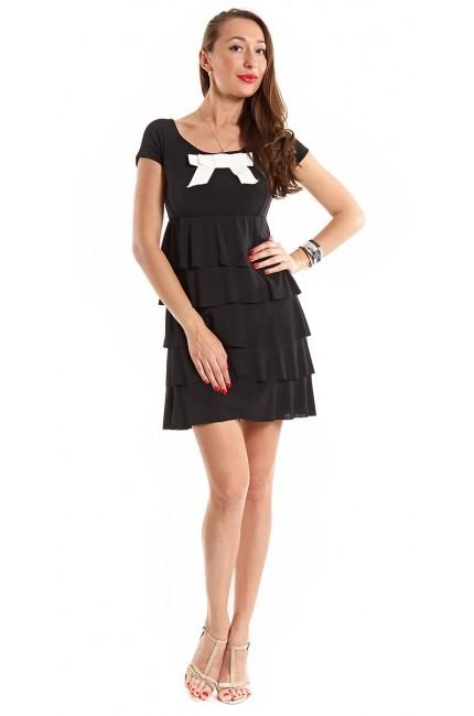 Коктейльное черное платье RINASCIMENTO с белым бантом