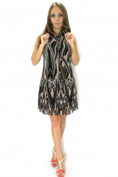 Легкое короткое платье RINASCIMENTO с воротником стойкой