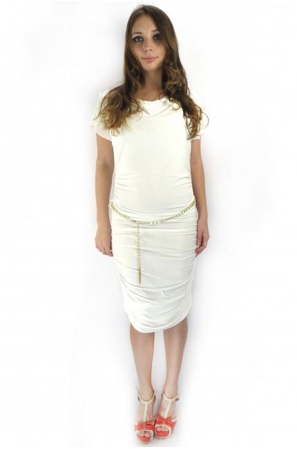 Белое бандажное платье EVERIS с позолоченным поясом