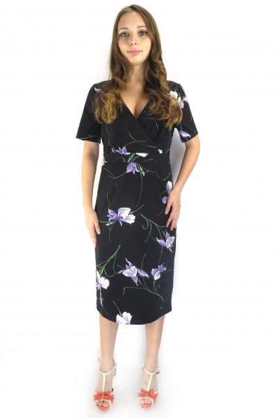 Черное платье kaffe  с фиолетовыми цветами