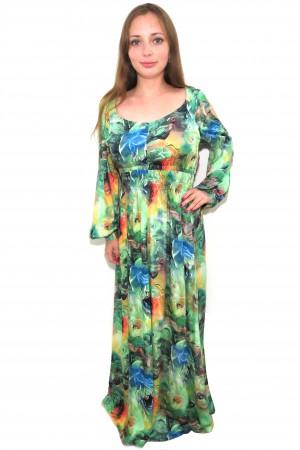 Длинное платье Mary Mea зеленого оттенка с рукавами