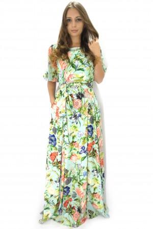 Длинное летнее платье LA FAMA бирюзового цвета с рукавами