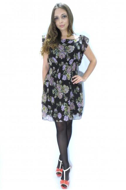 Черное платье UTTAM LONDON с фиолетовыми цветами