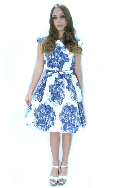 Белое платье RINASCIMENTO с синими цветами