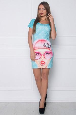 Платье с принтом Девочка с чупа-чупсом